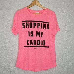 VS PINK Shopping Is My Cardio Graphic Tee Hot Pink
